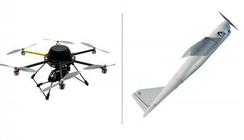 """Беспилотные аппараты для радиоконтроля. Слева беспилотный вертолет """"Колибри"""", справа БЛА """"Орлан-10"""""""